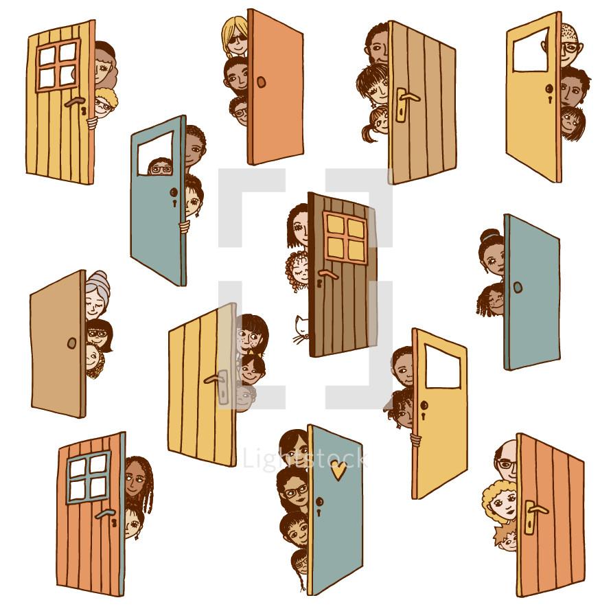 people peeking behind a door