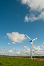 wind turbine - field - cloud - sky