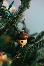 acorn ornaments on a Christmas tree