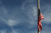 American flag at half staff