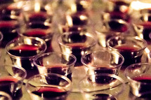 communion cups in a tray
