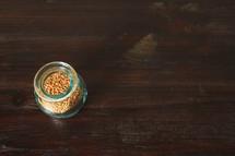 mustard seeds in a jar