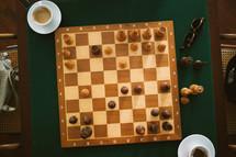espresso and chess board