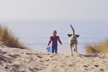 a little boy in a spiderman costume and a sand bucket on a beach and a dog