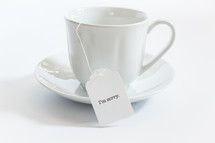 tea cup with the words I'm sorry on the tea bag
