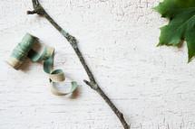 ribbon, stick, and leaf