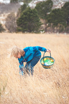 boy looking for Easter eggs