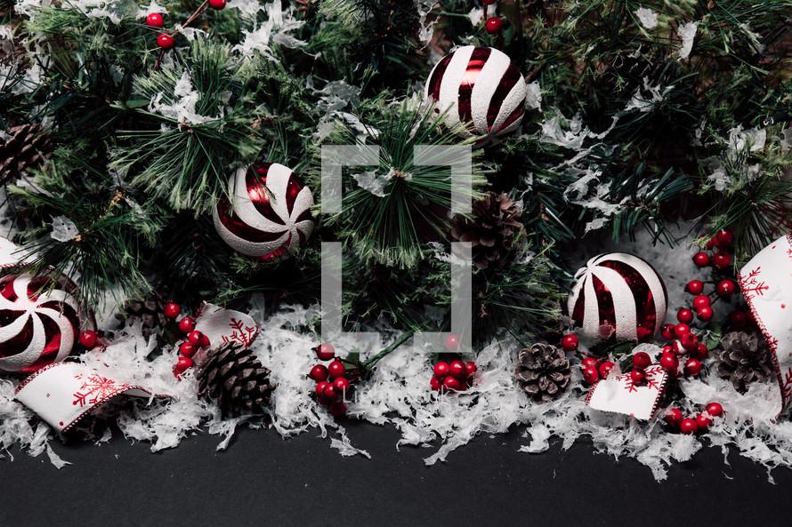 Christmas border on black