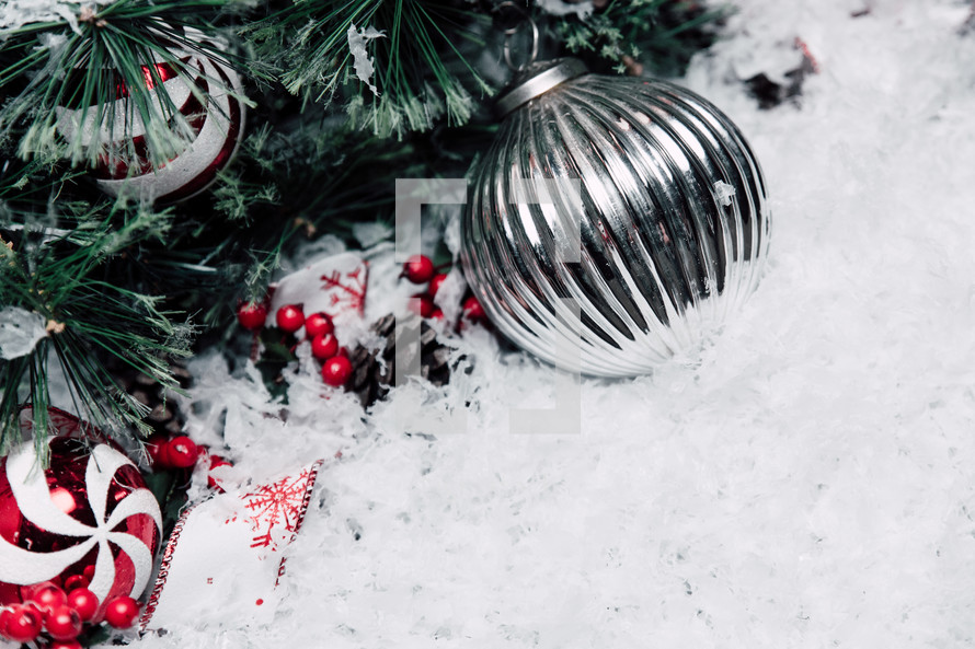 pine garland in snow