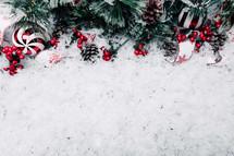 Christmas border on snow