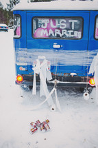 just married on the back of a van window