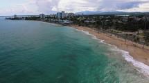 drone shot over a shoreline