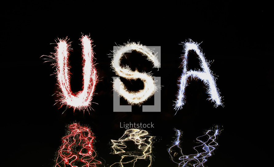 USA written in red, white and blue fireworks