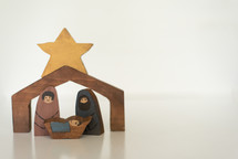 wooden nativity of holy family