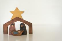 wooden nativity of holy family