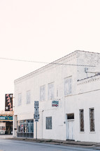 white building downtown