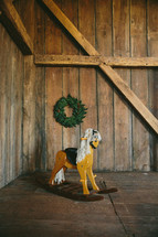 rocking horse and wreath