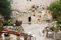The empty Garden Tomb in Jerusalem.