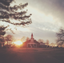 a church at sunset