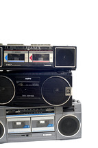 A stack of boomboxes.
