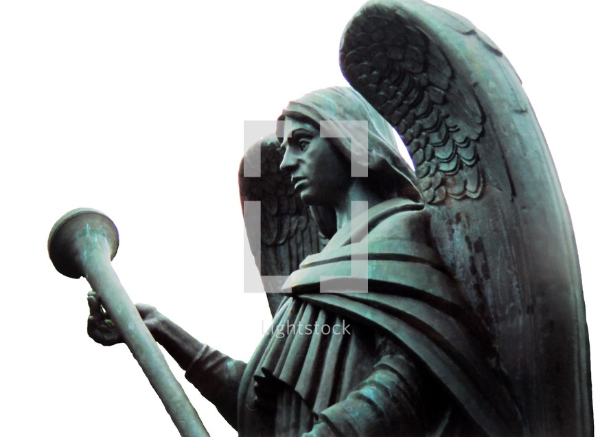 Statue of an angel warrior with a trumpet.