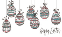 Happy Easter with hanging easter eggs