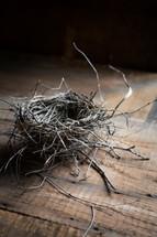 empty bird's nest on a wood floor