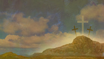 Easter desert three crosses on a mount