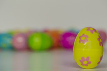 plastic Easter eggs on a white background