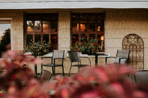outdoor seating on a covered  patio