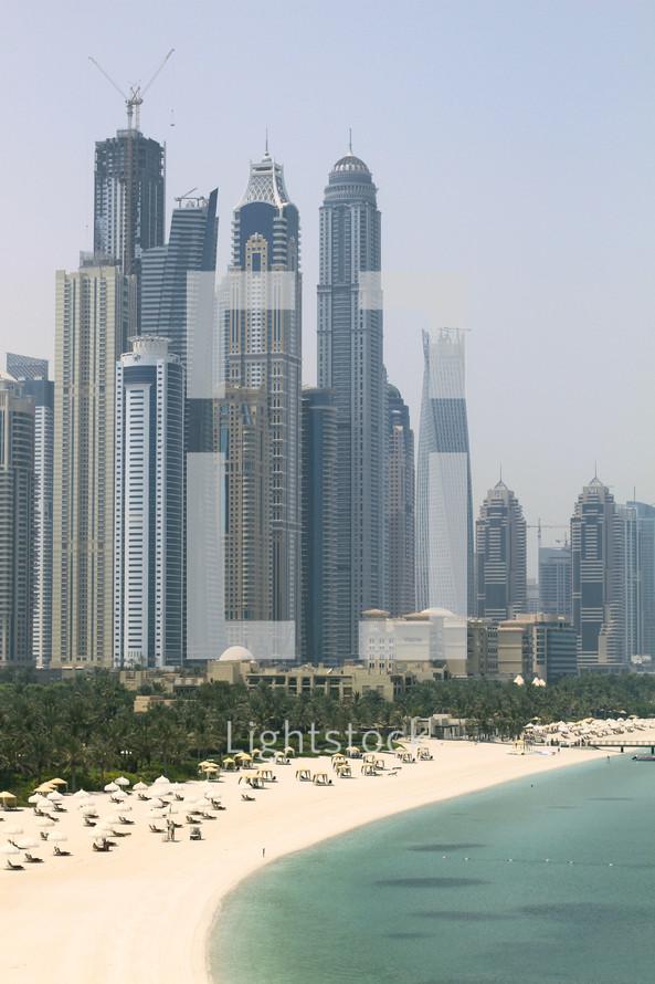 skyscrapers and resort along the Dubai coastline
