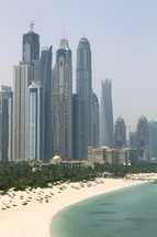 skyscrapers and resort along the Dubai coastline