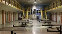 prison cafeteria and jail cells
