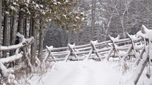 falling snow on a fence line