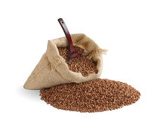 Burlap bag of buckwheat with a scoop.