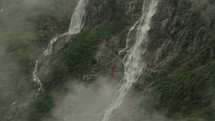 mist over a waterfall