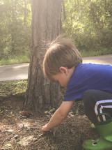 toddler boy digging in pine straw