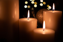 candles, lights, Christmas, gold, nativity, advent, ornaments, pine
