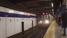 approaching train at a subway station