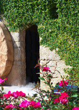 The Empty and opened tomb of Jesus Christ where Jesus was resurrected from the dead and rose from the grave after three days, just as He said he would do to His disciples.