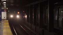approaching train in a subway