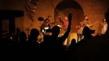 waving hands at a concert