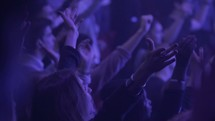 audience with raised hands at a concert