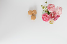 macaroons and pink vase