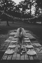 A long, rustic outdoor table set for a dinner party.