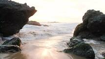 tide washing onto the beach
