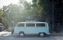 VW bus parked on the side of a road