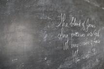 The blood of Jesus, Sing praises unto God, blackboard