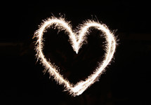 Heart shape in fireworks.