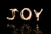 """Joy"" written in fireworks."